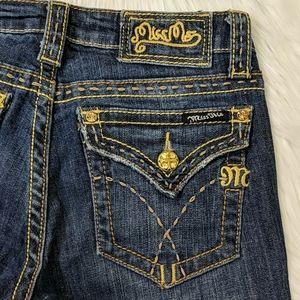 MissMe dark wash distressed boot loose stitch jean